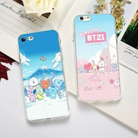 BTS kpop Cartoon Cute BT21 TPU Korean Fashion Phone Case for IPhone 5 5S SE 6 6S 6Plus 7 7Plus 8 8Plus X XS XR XS MAX and Samsung S8 S9 Note8