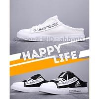 愛迪達Adidas Shoes off-White 聯名款2019新款經典時尚懶人壹腳蹬半拖鞋 男子百搭休閒半包頭平底鞋