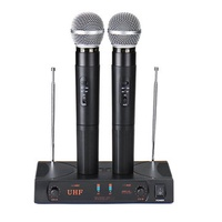 UHF Wireless Microphone System with LCD Display Dual Handheld for Speech Karaoke Meeting Party