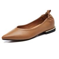 【Taroko】都會女伶淺口全真牛皮套腳淑女鞋(駝色黑色2色全尺碼)