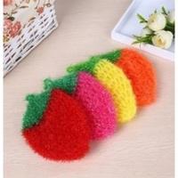 韓國製 熱銷創意不沾油 草莓造型洗碗巾.菜瓜布.洗碗布.草莓菜瓜布 顏色隨機出貨