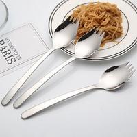 304不鏽鋼二合一叉匙 叉匙 湯匙 叉子 叉匙合一 餐具 304 不鏽鋼 不銹鋼 環保 野餐 外食族必備【B063502】