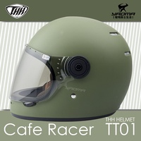 THH安全帽 TT01 消光橄欖綠 素色 復古樂高帽 全罩帽 雙D扣 CAFE RACER 耀瑪騎士機車部品