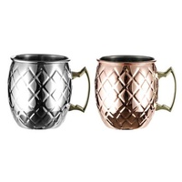 Stainless Steel Copper Plated Mug Cup Coffee Tea Shop Desktop Water Bottle Ice Container