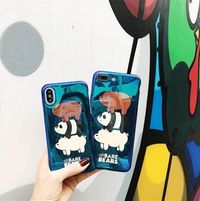 We Bare Bears Case for Iphone Soft Matte Luxury Silicone Phone Cover Popular Cute Blue Light Cases