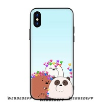 We bare bears moon Soft Silicone Case for Apple iPhone XR XS Max X or 10 8 7 6 6S Plus 5 5S SE Phone Case