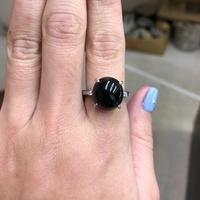 天然墨翠翡翠蛋面造型戒指