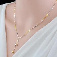 925純銀玫瑰金防過敏不掉色三色彩銀項鏈女連理枝韓版18K彩金項鏈