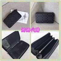 娜娜精品代購 COACH 93504 最新款男生經典紋PVC拼牛皮多功能手拿包 多卡位大容量手拿包 附購證