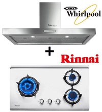 WHIRLPOOL AKR 799 IXL 90CM STAINLESS STEEL CHIMNEY HOOD + RINNAI RB-73TS 3 BURNER HYPER FLAME STAINLESS STEEL BUILT-IN HOB