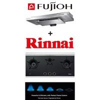 Fujioh SLM-900R Slim Cooker Hood + Rinnai RB-3CG 3 Burner Built-in Gas Hob