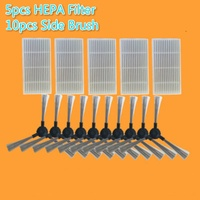 15pcs/lot Vacuum Cleaner Parts (HEPA Filter x5+ Side Brush x10) for Proscenic 790T robot Replacement