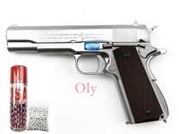 """ปืนบีบีกันอัดแกส WE M1911A1 สี เงิน ฟรี"""" ลูกเซรามิค 300 นัด+แกส"""