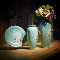 Ceramic vases set of three American rural decoration living room porch continental IKEA TV cabinet a