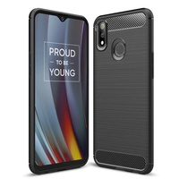 Lenuo Case for Oppo Realme 3 Pro and Realme X Lite TPU Soft Carbon Fiber Silicone Brushed Anti-knock cell phone Back Cover