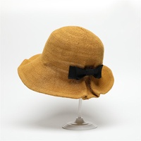 sunyoo-Braided Hat Bow Hat Visor Sun UV Protection Fisherman Hat