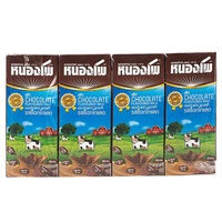 Nong Pho, UHT flavored milk, chocolate flavor 225 ml, pack 4, soy milk and UHT milk