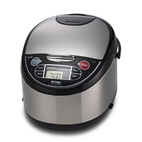[TIGER CORPORATION] Tiger Micom Rice Cooker with Food Steamer & Slow Cooker, Stainless Steel Black