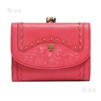 有anasuigamapoketto的皮革小型錢包粉紅派ANNA SUI AND AS