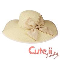 【Cute ii Lady】超大帽檐綴大蝴蝶結渡假風拉菲草帽  韓版沙灘 防曬草編遮陽帽(米)