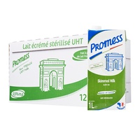 PROMESS UHT Fresh French Milk - Skimmed - Made in France (12 x 1 Ltr)
