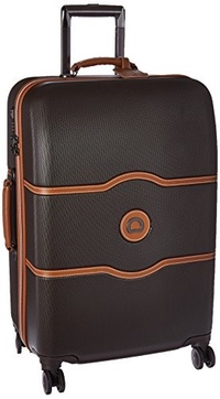 DELSEY Paris Delsey Luggage Chatelet Hard+, Medium Checked Luggage, Hard Case Spinner Suitcase, Choc
