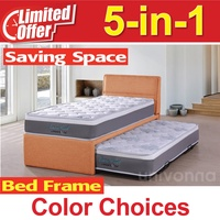 Pull Out Bed Single size 5 in 1 * Foldable Bed * Inlcuding Spring Mattresses