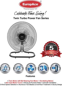 "EuropAce EPF 3188 18"" Aluminium Blades Twin Turbo Power Fan"