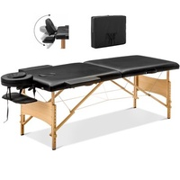 [US DIRECT] PVC 2 Section Right Angle Folding Massage Table Folding Table Portable Package Table Chair