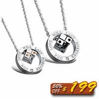 【5折超值價】  最新款骰子鑲鑽愛情鈦鋼情侶項鍊