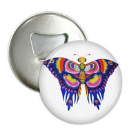 Traditional Chinese Kite Butterfly Pattern Round Bottle Magnet Opener Badge 3pcs Gift Button Pins Refrigerator