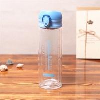 簡約雙層玻璃杯 防漏彈蓋玻璃杯 韓版小清新水杯 戶外運動水杯 冷水瓶