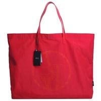 ARMANI JEANS 品牌圖騰 LOGO 可折式漆皮提帶超輕量購物托特包(桃紅底)