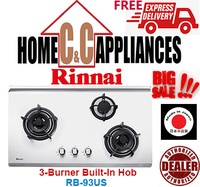 RINNAI  RB-93US 3 Burner Built-In Hob | Stainless Steel Top Plate | FREE DELIVERY |