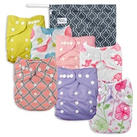 Baby Cloth Pocket Diapers 7 Pack, 7 Bamboo Inserts, 1 Wet Bag by Nora's Nursery by Nora's Nursery