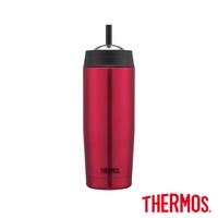 【THERMOS 膳魔師】不鏽鋼真空吸管隨行瓶0.47L(TS403PK)深粉紅色