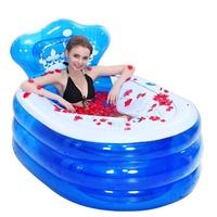 145 x 80 x 45CM Foldable Inflatable Bathtub Portable Adult with Air Pump Steam Spa Sauna Plunge Bath