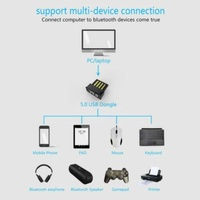 USB Bluetooth V5.0 Wireless Mini Dongle Adapter For Windows 7/8/10 PC Laptop