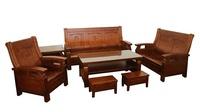 【尚品傢俱】822-06 柚木色全實木1+2+3人座木組椅/木製沙發組/會客沙發桌椅/客廳sofa+table