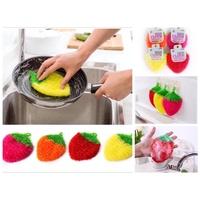 超低價現虎貨 韓國 草莓巾 草莓造型 不沾油 洗碗巾/菜瓜布