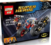 LEPIN 07032 Super Hero  Mighty Micros Deadshot Harley Queen Batman with motorcycle Blocks Toys compatible with