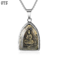 XL019 Buddha Statue Buddha Titanium Steel Chandelier Pendant Stainless Steel Necklaces