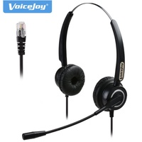 Binaural RJ9/RJ11 headset with microphone Noise canceling phone headphones call center headset for Aastra Nortel