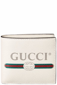 Gucci Mens  Logo Print Leather Bifold Wallet