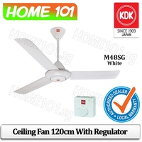 "KDK M48SG Ceiling Fan 120CM with Regulator (White) *available in 9"" Rod Length*"