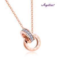 【Angellisa專櫃品牌】羅馬數字環環相扣鈦鋼晶鑽項鍊(玫瑰金)
