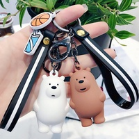 wholesale 1pc lovely Cartoon We Bare Bears Cute Three Animal Bears Doll Keychains Bag Pendant KeyCha