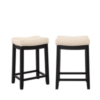 2pcs/1set Kitchen Backless Linen Counter Height Stools with Nailhead Studs Dining Chair Coffee Bar Wooden Stools