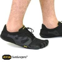 Vibram 五趾鞋 Vibram 五手指男裝 KSO EVO 黑 Vibram 五手指五手指鞋赤腳的 (14 米 0701年) SHOETIME