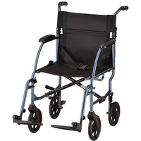 "NOVA Medical Products 19"" Ultra lightweight Transport Wheelchair, Blue , Blue"